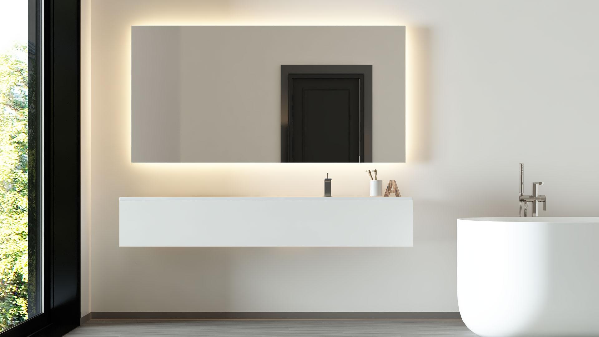 TIGRES ist ein Badspiegel mit Hintergrundbeleuchtung